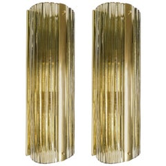 Pair of Piegato Smoky Wall Sconces