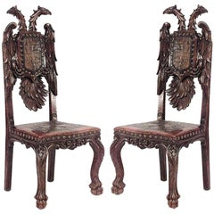 Pair of Continental Baroque Style Stained Pine Side Chairs
