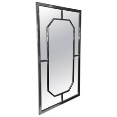 Modern Chrome Rectangular Mirror with Octagonal Center