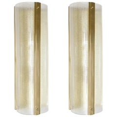 Pair of Strutturato Clear Wall Sconces