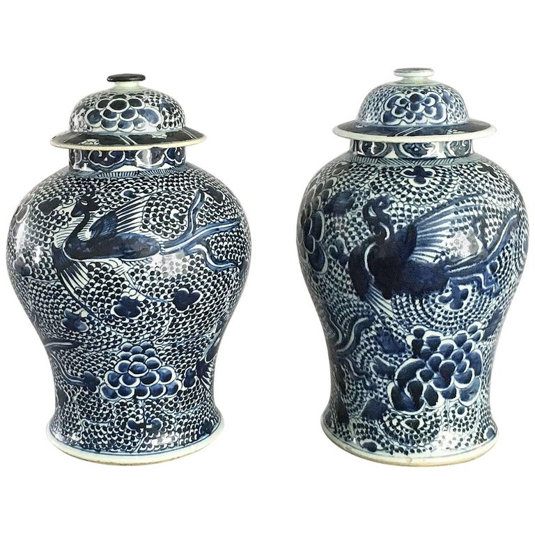 Chinese Matched Pair of Blue and White Vases and Lids