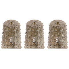 Set of Three Super Glamorous Swedish Orrefors Vintage Crystal Wall Sconces