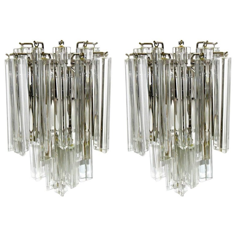 Pair of Venini Italian Triedi Glass Wall Sconces