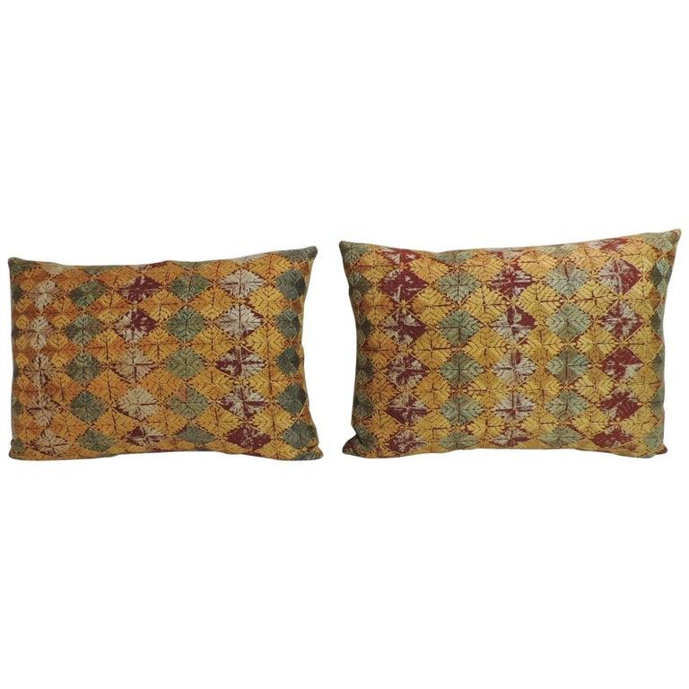 "Pair of 19th Century Embroidery Indian ""Phulkari"" Decorative Bolster Pillows"