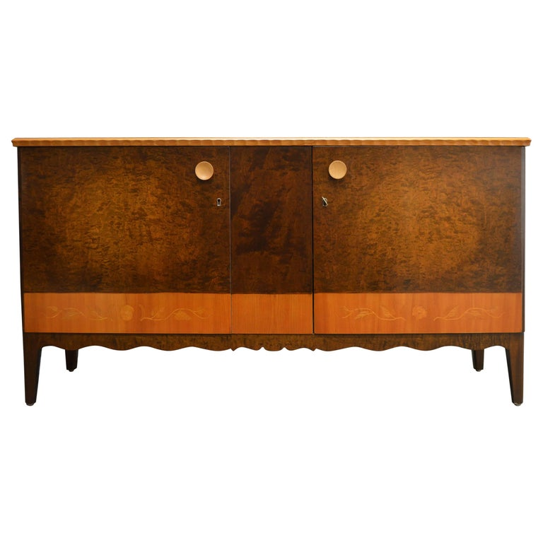 Swedish Art Deco Moderne Intarsia Sideboard Buffet Cabinet For Sale