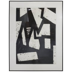 Mid-Century Modern Black and White Geometric Gordon Newton Original Art, 1970s