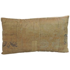 "19th Century Textile Japanese Silk ""Kesa"" Lumbar Decorative Pillow"