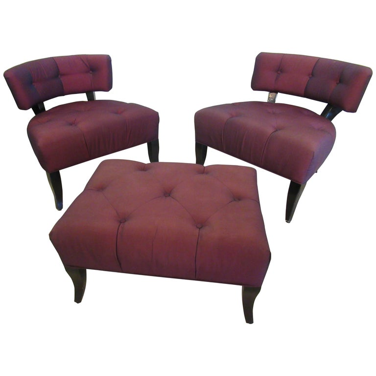 Pair of American Modern Klismos Slipper Chairs and Ottoman, Billy Haines, 1950s