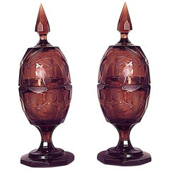 Pair of Continental German Style Amber Cut Glass Floral Design Urns