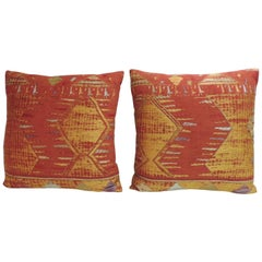 "Pair of Antique Textile ""Phulkari"" Embroidered Linen Decorative Pillows"