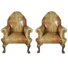Pair of 19th Century Chippendale Style Leather Armchairs