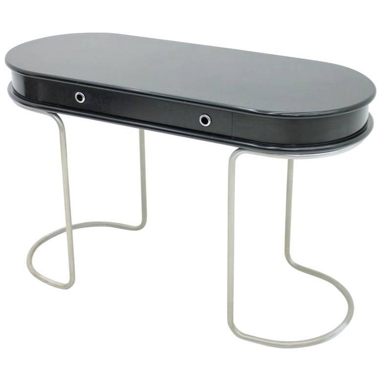Black Ladies Desk Vanity Console Table, Italy, 1960s For Sale