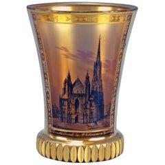Glass Biedermeier Transparent Beaker Church Saint Stephen Vienna Kothgasser 1825