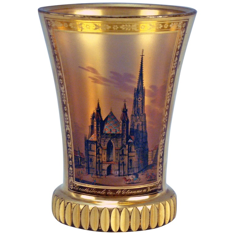 Glass Biedermeier Transparent Beaker Church Saint Stephen Vienna Kothgasser 1825 For Sale