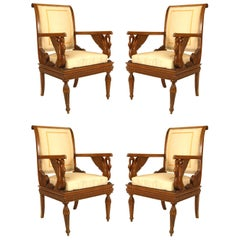 Set of Four Austrian Neoclassic Fruitwood Inlaid Walnut Armchairs