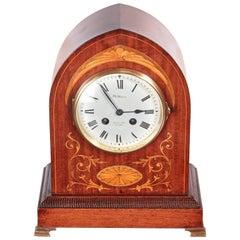 Edwardian Inlaid Mahogany Mantel Clock