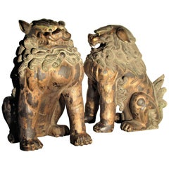 Large Carved Wood Foo Dog Lion Statues