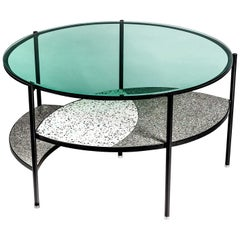 Contemporary Terrazzo, Glass, Steel and Aluminum Table
