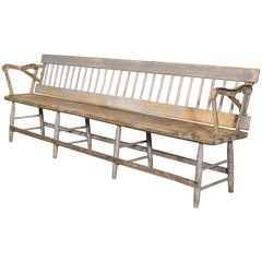 1870s Railroad Station Reversible Flip Back Train Depot Wood and Cast Iron Bench