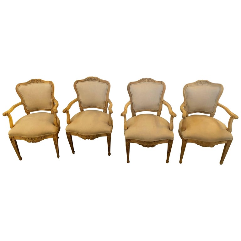 Set of Four Fine Early Neoclassical Style Armchairs Fauteuils by Maison Jansen