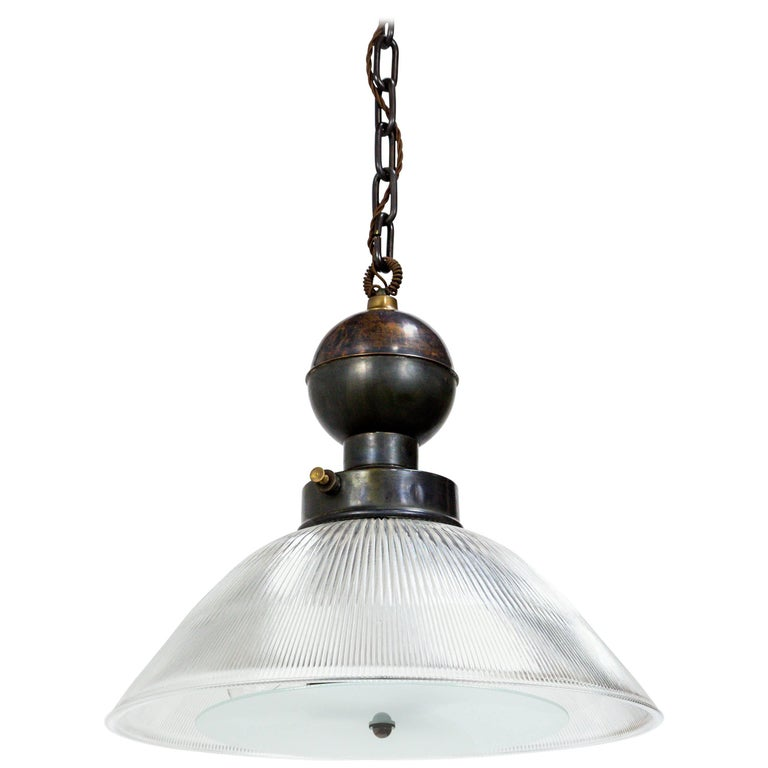 Large Italian Holophane Pendant with Diffuser