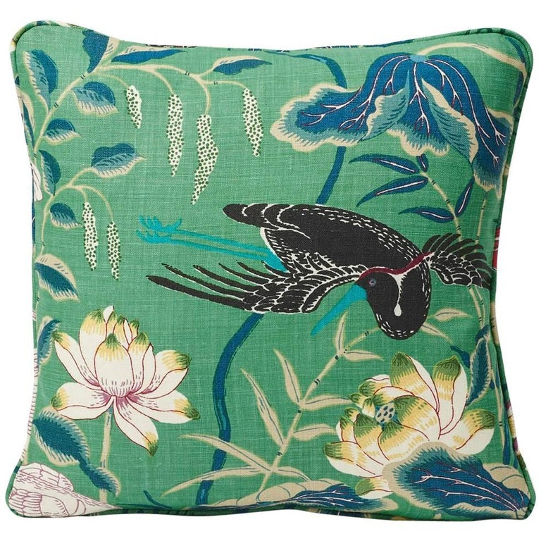 "Schumacher Lotus Garden Japanese Floral Jade Green Linen Two-Sided 18"" Pillow For Sale"