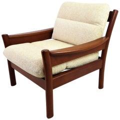 Fine 1960s Dyrlund Teak Lounge Armchair Denmark with Chenille Cushions