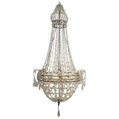 Continental Gilt Iron and Faceted Crystal Chandelier