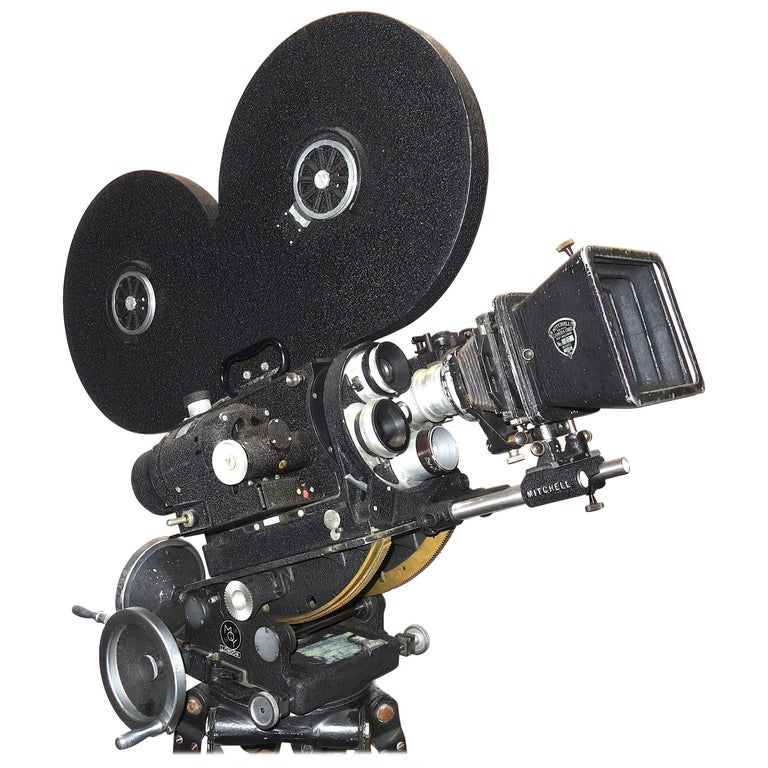Hollywood Midcentury Movie Camera with Geared Head and Wood Tripod Legs