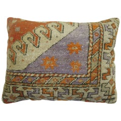 Vintage Turkish Lumbar Rug Pillow