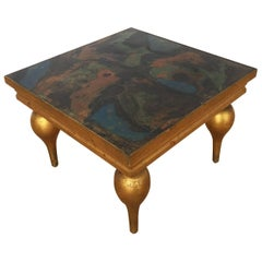 Midcentury Italian Giltwood Occasional Table with Marbleized Top, 1940s