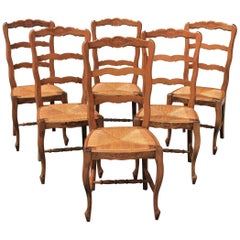 Set of Six French Country Rush Seat Solid Walnut Dining Chairs, circa 1910s