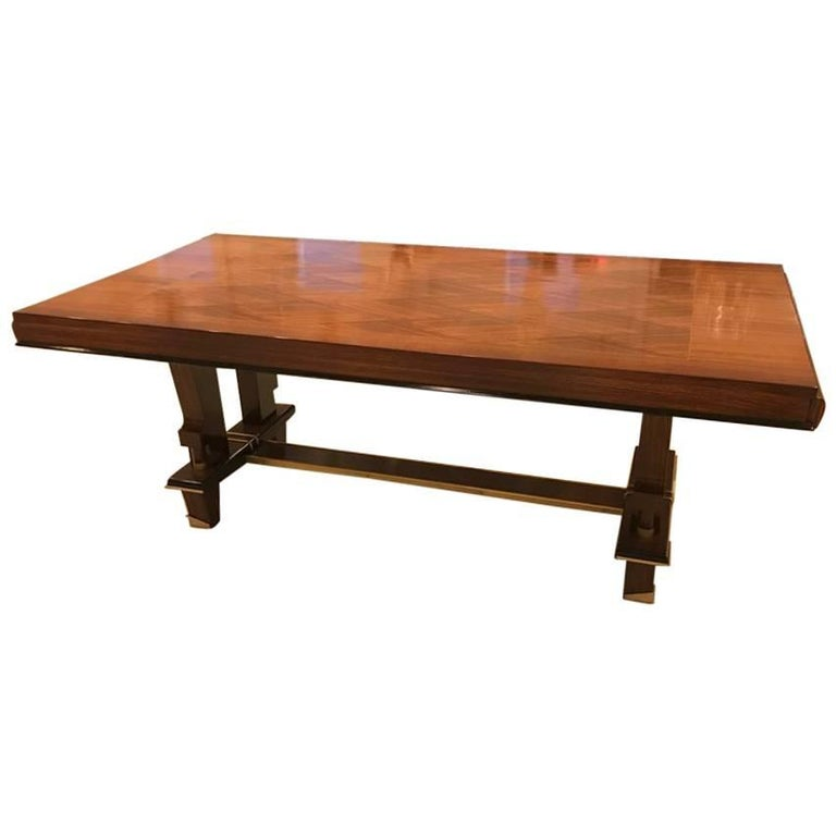 French Art Deco Dining Table with Diamond Marquetry