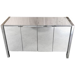 Chrome and Mirror Four-Door Credenza By Ello