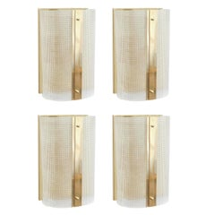 Four Strutturato Clear Short Wall Sconces