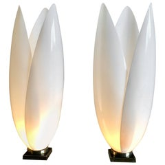 Pair of Rougier Designed Acrylic Table Lamps