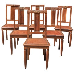 Set of Six French Art Deco Solid Walnut Leather Seat Dining Chairs, circa 1940s