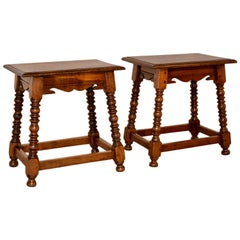 Late 19th Century Pair of English Oak Stools