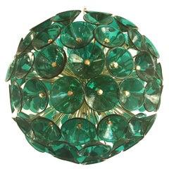 Italian Green Murano Trumpets Gold Sputnik