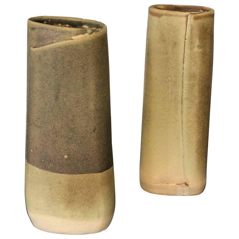 Pair of Hand Built Ceramic Vases