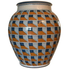 1980s Large Decorative Ceramic Planter or Vase, Italy