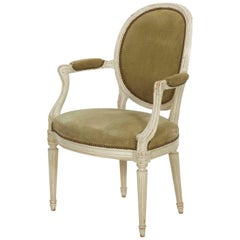 Vintage French Louis XVI Style Armchair in White Paint and Suede Leather