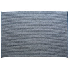 Natural Woven Wool Rug in Blue and Custom Crafted in the USA, Reversible, Franco