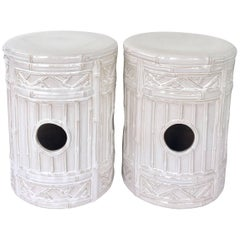 Pair of Contemporary Ceramic Glaze Faux Bamboo Garden Stools