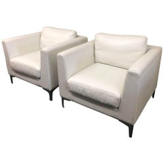 Pair of American Leather Albert White Leather Armchairs for Design Within Reach