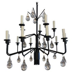 Svend Aage Holm Sørensen Iron and Glass Drop Chandelier