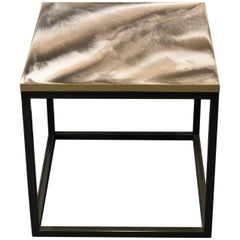 "Contemporary Resin Side Table ""Taupe 'n' Latte"" on Gray Satin Steel Base"
