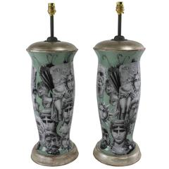 Pair of Fornasetti Inspired Lamps