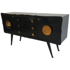 Fine Midcentury Black and Gold Mirror Sideboard