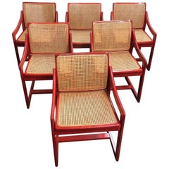 Vintage Red Italian Caned Chairs, Set of Six